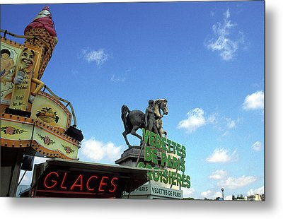 Ice Cream And The Statue Metal Print by Kathy Yates