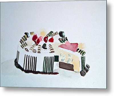 Ice Cream Cake Watercolor Metal Print
