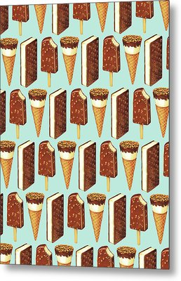 Ice Cream Novelties Pattern Metal Print by Kelly Gilleran