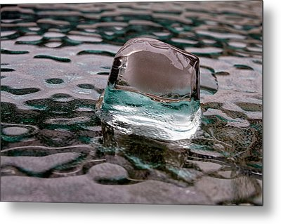 Metal Print featuring the photograph Ice Cube On Glass V1 by Rico Besserdich