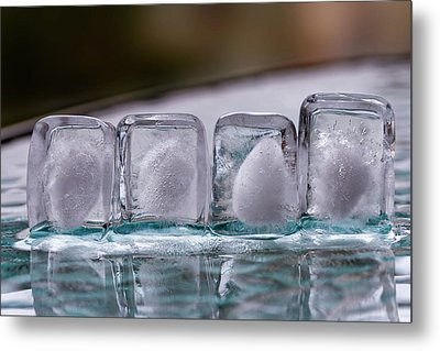 Metal Print featuring the photograph Ice Cubes In A Line by Rico Besserdich