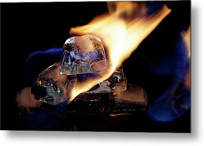 Metal Print featuring the photograph Ice Cubes Under Fire by Rico Besserdich