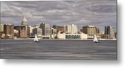 Ice Sailing - Lake Monona - Madison - Wisconsin Metal Print