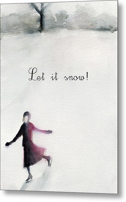 Ice Skater Holiday Card Metal Print