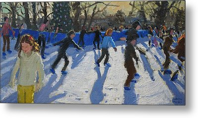 Ice Skaters At Christmas Fayre In Hyde Park  London Metal Print by Andrew Macara