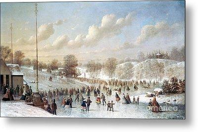 Ice Skating, 1865 Metal Print by Granger