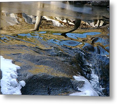 Ice Water Reflection Metal Print