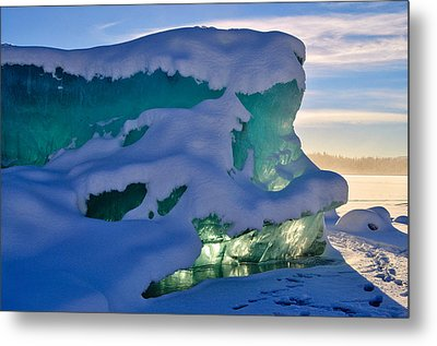 Iceberg's Glow - Mendenhall Glacier Metal Print