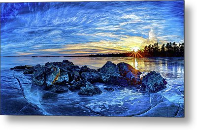 Icebound Sunset Metal Print by ABeautifulSky Photography