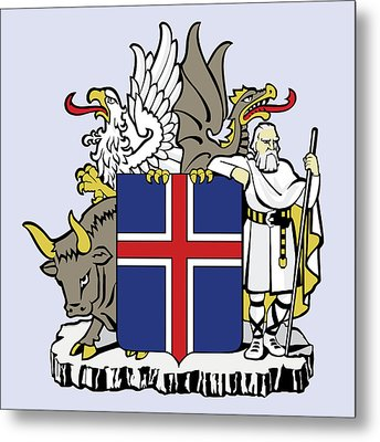 Iceland Coat Of Arms Metal Print by Movie Poster Prints