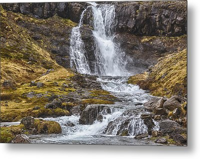 Metal Print featuring the tapestry - textile Iceland Fjord 2 by Kathy Adams Clark