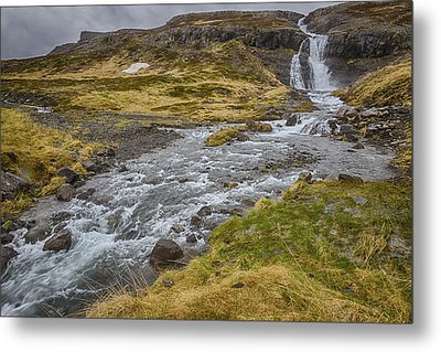 Metal Print featuring the tapestry - textile Iceland Fjord by Kathy Adams Clark