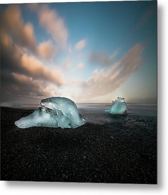 Iceland Glacial Ice Metal Print by Larry Marshall