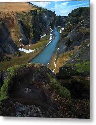 Iceland Gorge Metal Print by Larry Marshall
