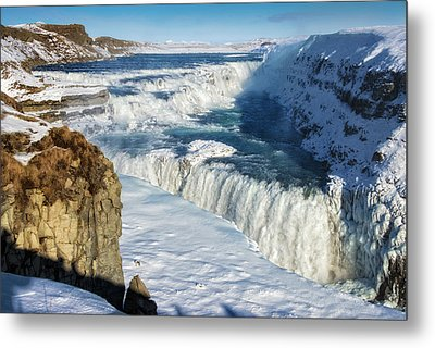 Metal Print featuring the photograph Iceland Gullfoss Waterfall In Winter With Snow by Matthias Hauser