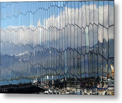 Metal Print featuring the photograph Iceland Harbor And Mountains by Joe Bonita