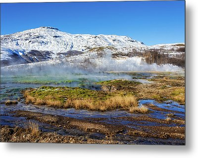 Metal Print featuring the photograph Iceland Landscape Geothermal Area Haukadalur by Matthias Hauser