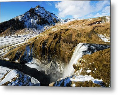 Metal Print featuring the photograph Iceland Landscape With Skogafoss Waterfall by Matthias Hauser