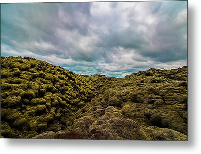 Iceland Moss And Clouds Metal Print