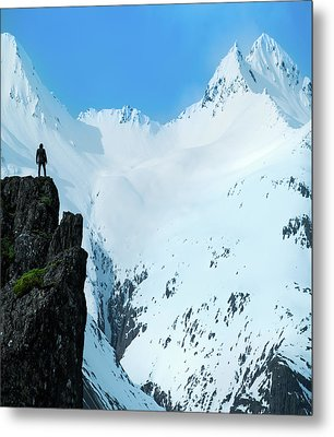 Iceland Snow Covered Mountains Metal Print by Larry Marshall