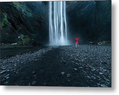 Iceland Waterfall Metal Print by Larry Marshall
