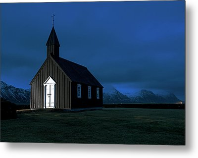 Metal Print featuring the photograph Icelandic Church At Night by Dubi Roman