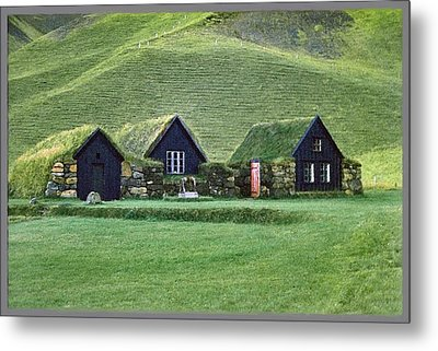 Icelandic Turf Homes Metal Print by Mario Carini