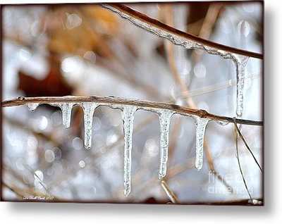 Icicles And Bokeh Metal Print by Deb Badt-Covell