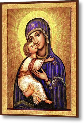 Icon Madonna And Infant Jesus Metal Print by Ananda Vdovic