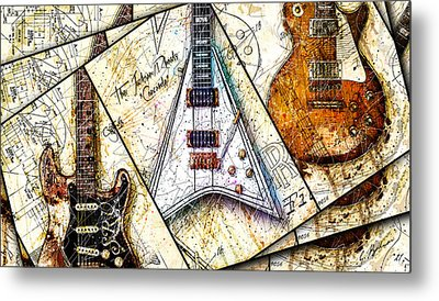 Iconic Guitars Panel 1 Metal Print by Gary Bodnar