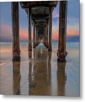 Iconic Scripps Pier Metal Print by Larry Marshall