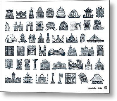 Icons Of Indian Architecture Metal Print by Sasank Gopinathan