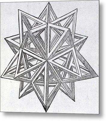 Icosaedron Elevatum Vacuum Metal Print by Leonardo Da Vinci