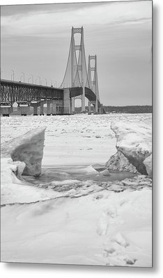 Metal Print featuring the photograph Icy Black And White Mackinac Bridge  by John McGraw