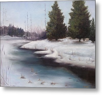 Metal Print featuring the painting Icy Blue by Diane Daigle