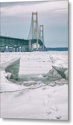 Metal Print featuring the photograph Icy Day Mackinac Bridge  by John McGraw