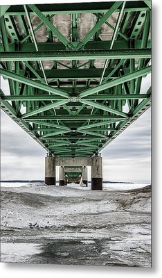 Metal Print featuring the photograph Icy Mackinac Bridge In Winter by John McGraw