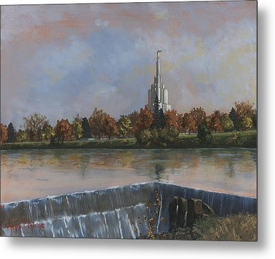 Idaho Falls Temple Metal Print by Jeff Brimley