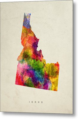 Idaho State Map 02 Metal Print
