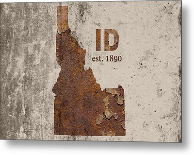 Idaho State Map Industrial Rusted Metal On Cement Wall With Founding Date Series 045 Metal Print by Design Turnpike