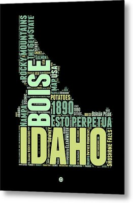 Idaho Word Cloud 1 Metal Print
