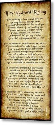 If By Rudyard Kipling - Long Parchment Style  Metal Print