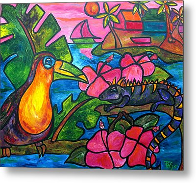 Iguana Eco Tour Metal Print by Patti Schermerhorn
