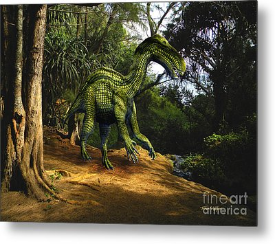 Iguanodon In The Jungle Metal Print by Frank Wilson