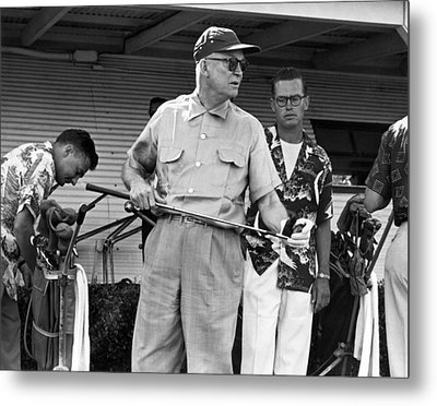 Ike Plays Golf In Hawaii Metal Print by Underwood Archives