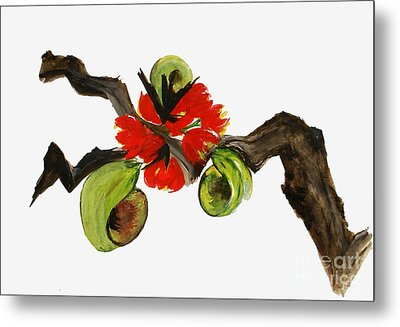 Ikebana - Red N Green Metal Print