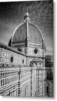 Metal Print featuring the photograph Il Duomo Florence Italy Bw by Joan Carroll