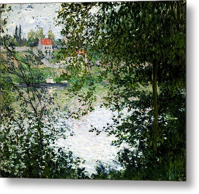 Ile De La Grande Jatte Through The Trees Metal Print by Claude Monet