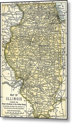 Illinois Antique Map 1891 Metal Print by Phil Cardamone