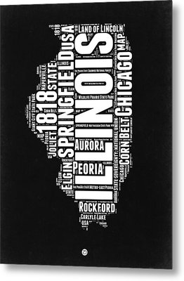 Illinois Black And White Word Cloud Map  Metal Print by Naxart Studio